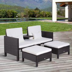Gartenmöbel Gartensofa Lounge Gartenset Sitzgruppe Rattenmöbel Braun  Polyrattan + Metall
