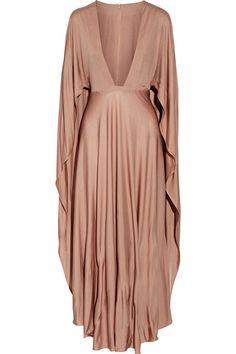 VALENTINO Cape-Effect Silk-Jersey Maxi Dress. #valentino #cloth #dresses
