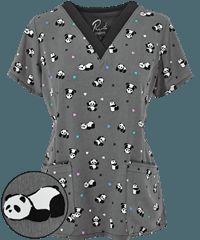 Size Large Maevn+Scrubs+Happy+Pandas+Top