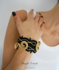 OOAK soutache bracelet black bracelet black soutache ring black jewelry set gift idea for her best selling jewelry black gold jewelry set by MagdoTouch on Etsy