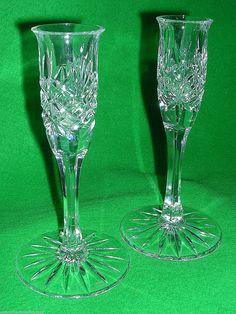 Pair Edinburgh International Crystal Candle Stick Holder Etched Un-matched | eBay