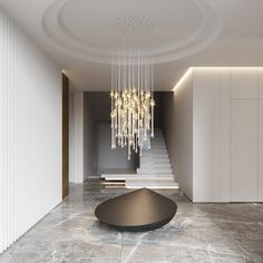 project B on Behance Foyer Chandelier, Chandeliers, Lampe Tactile, Law Office Design, Artistic Installation, Lobby Design, Residential Interior Design, Lampe Led, Staircase Design