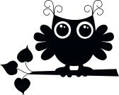 black cartoon owl (I can be pink or blue too)