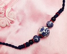 Blue/Red Flower Beads Pendant Traditional Asian Chinese Knot Handmade Necklace by TrendyOriental on Etsy