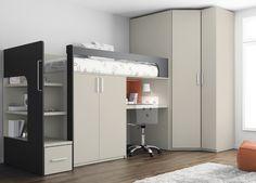 Kids Touch 68 Litera mas armario Juvenil Literas y cama tren Habitación con Litera, armario y escritorio de Muebles Ros