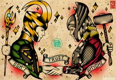 Loki and Thor tattoo flash by Derick James https://www.facebook.com/xderickjamesx