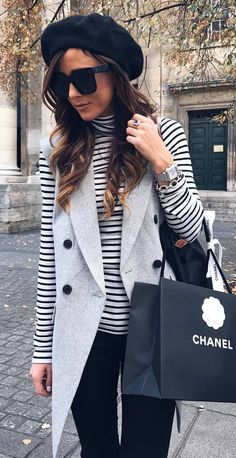 beautiful outfit / hat + stripped top + vest + bag + black pants
