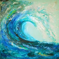 Wild Ocean, Acrylic painting by Sharon Deegan Acrylic Pouring Art, Acrylic Painting Canvas, Acrylic Painting For Beginners, Ocean Art, Ocean Waves, Wave Art, Guache, Seascape Paintings, Pastel Paintings