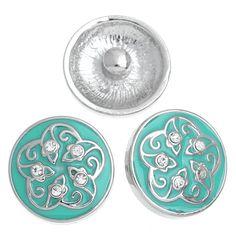 2014 New 5PCs Snap Buttons Fit Snap Bracelets Flower Enamel Green 20mm