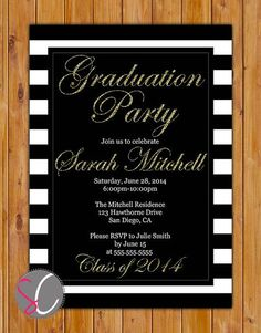 Gold black and white graduation party invitation glitter stripes graduation invitation gold black digital glitter white stripes high school college printable diy i filmwisefo