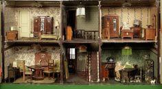 English Edwardian Painted wooden dolls house
