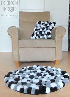 Pom pom rug Fluffy carpet White Grey Black by PompomWorldCom