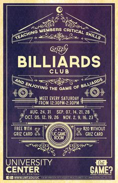 The winning Grizzly Billiards Club poster design