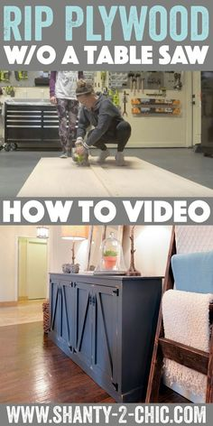 How to rip plywood without a table saw! We build so much of our DIY furniture with hardwood plywood but it is often sold in large sheets and can be difficult to manage. We show you how to get a perfectly straight rip and cross cut every time and without a table saw. How-to video at www.shanty-2-chic.com
