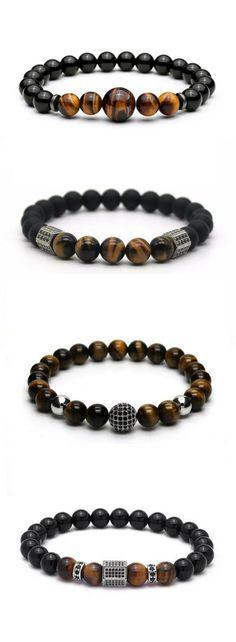 Mens Beaded Bracelets. Sale & Free worldwide shipping. #men'sjewelry
