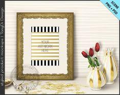 Ornate Frame on Gold Table Styling | 2 Styled scene | 5x7 | Empty Frame Styled Mockup T2 | Tulips Confetti | Gold Portrait Landscape Frame