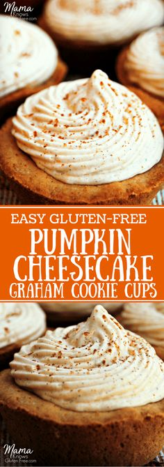 These amazing, easy gluten-free pumpkin cheesecake graham cookie cups are topped with a simple, no-bake cheesecake filling. A simple, yet elegant dessert. Best Gluten Free Recipes, Gluten Free Cakes, Gluten Free Baking, Gluten Free Desserts, Dessert Recipes, Vegetarian Recipes, Gluten Free Thanksgiving, Gluten Free Pumpkin, Pumpkin Recipes