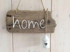 Tür- & Namensschilder - home - Treibholzschild mit Glocke - ein…