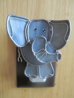 ELSIE THE ELEPHANT, stained glass elephant night light via Etsy