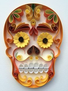 Quilled Day of the Dead skull by Armida Ortega                              …