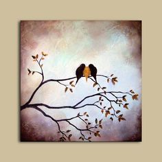 Original Textured Painting - Three Birds on Tree Branch