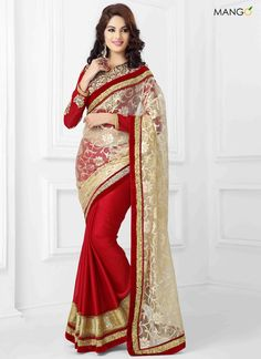 ALLURING RED AND CREAM WEDDING SAREE  CODE:-6669 PRICE:-4674/-