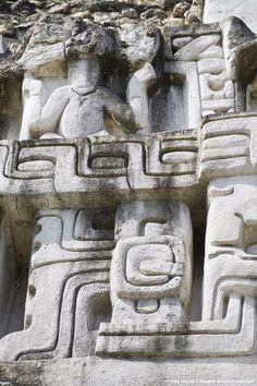 Frieze on the 130ft high El Castillo at the Mayan ruins at Xunantunich, San Ignacio, Belize.