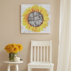 "You Are My Only Sunshine is a printed canvas piece that features a textured grey background and bright & sunny sunflower. The piece is printed on canvas and lightly gel coated for texture. 20"" x 20"" x"