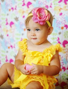 yellow/ pink lace romper headband SET, petti romper,baby head band,girls 1st birthday outfit,vintage inspired headband and lace petti romper on Etsy, $21.99