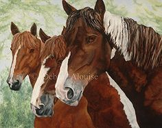 "Friends Stay Close Horses Paint Horse with Herd Original Painting Art Print by California Artist Debra Alouise. ""Friends Stay Close"" High Quality Laster print of My Original Oil painting. Details: Title: ""Friends Stay Close"" Herd of Horses Image Size: Length 13 3/4"" x Height 11"" Media: Professionally Photographed Archival & Acid Free Print. This is one of My Most Captivating Paintings. Titled ""Friends Stay Close""."