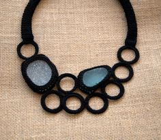 Black bib seaglass necklace 2 frosty sea glass crochet collar OOAK boho beach summer handmade gift for her Birthday on Etsy, $58.00