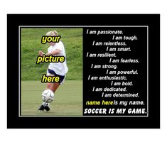 Ready to frame motivational soccer wall art. Personalized gift idea for aspiring soccer players.
