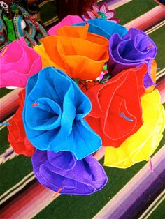 Huge Day of the Dead Colorful Paper Flowers 12 by mariposafuerte, $18.00