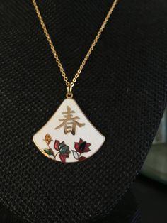 Cloisonne pendant, white cloisonne pendants, vintage cloisonné jewelry, cloisonné pendants, vintage cloisonné, white cloisonne,  N199 by DuckCedar on Etsy