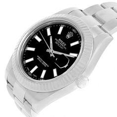 17621B Rolex Datejust II Steel White Gold Black Dial Mens Watch 116334 Box SwissWatchExpo