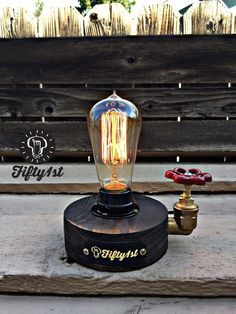 Rustic Desk lamp Rebel Reclaimed wood light | Etsy