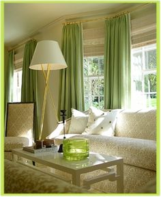 White Room Green Curtains Window Treatment Idea For Bay Windows Or Wall Of With Odd Corners