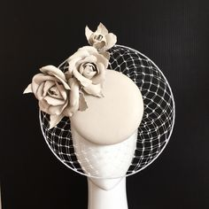 Bone leather percher with veil brim and roses by MillineryJill #millinery