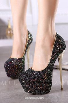 Mind if you fall  The heel would break leaving behind all the black sparkly  glitz and glamour