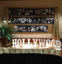 Hollywood Party - put film frames around high resolution photos -use spray adhesive to adhere - drape - Letters are backed with wire which made them bendable Photos of all vbs volunteers/cast Hollywood Glamour Party, Hollywood Theme, Hollywood Night, Filmstar Party, Hollywood Birthday Parties, Movie Night Party, Movie Nights, Game Night, Red Carpet Party