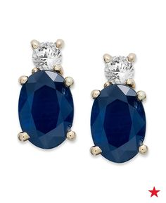 Gift her these beautiful sapphire and diamond oval earrings for ear-to-ear smiles.