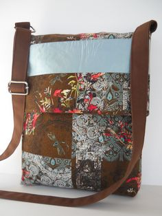 Messenger Bag / Crossbody Bag in Blue and Brown. $33.00, via Etsy.