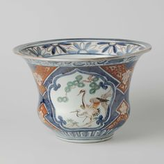 Flowerpot with cranes, shishi, hoo-bird and lotur scrolls, Anonymous, c. 1700…