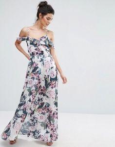 Vero Moda Cold Shoulder Ruffle Floral Maxi Dress
