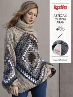 Pull Crochet, Crochet Jumper, Crochet Cardigan Pattern, Crochet Blouse, Crochet Poncho, Crochet Granny, Jumper Patterns, Crochet Square Patterns, Crochet For Beginners