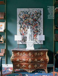 modern splatter art with classical furniture