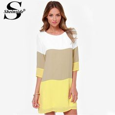 Sheinside Summer Clothes Vestidos Casual Woman Clothing Desigual Fashion White Khaki Yellow Color Block Work Wear Female Dress