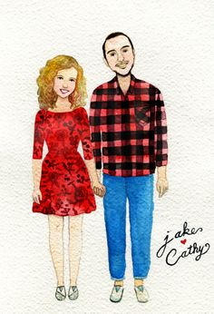 AN original couple portrait, custom portrait, Mordern watercolor illustration, custom illustration. by BameeMotions on Etsy