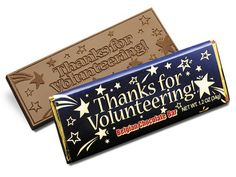 Thanks for Volunteering Chocolate Wrapper Bar