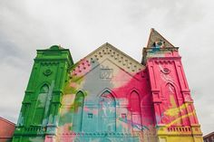 Check out these awesome images of an art installation on the surface of an abandoned church in Washington, D.C. by Hense!